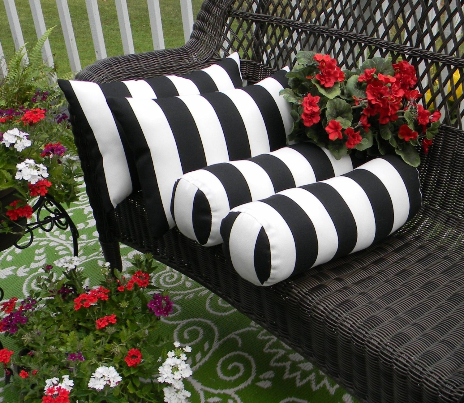 Set of 4 Black White Stripe Rectangle & Neckroll Bolster