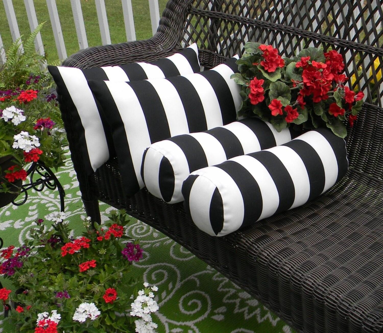 Set of 4 Black White Stripe Rectangle & Neckroll Bolster