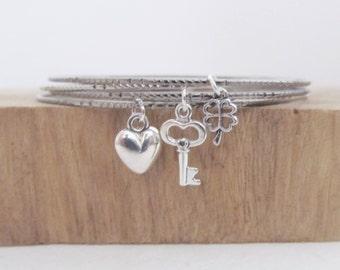 Set bangle bracelets, bangle bracelet, charm bracelet, love bracelet