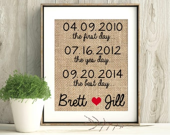 Engagement Gift, Anniversary Gift, First Day Yes Day Best Day, Personalized Wedding Gift, Wedding picture, Burlap Print