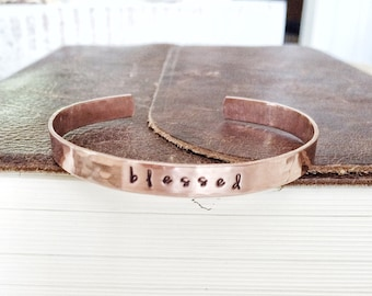 b l e s s e d - Beautiful Copper Stamped Cuff Bracelet - Christian Jewelry - faith bracelet