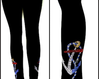 Plus Size Capri Length Leggings Embellished Rhinestone & Stud Boating Yacht Anchor Design