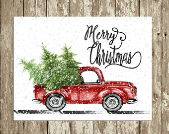 Retro Christmas Decor Vintage Merry Print Printable Party Wall Watercolor Truck Trees