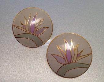 Laurel Burch Bird of Paradise Flower Earrings