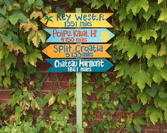 Directional Sign, mileage sign  on a stake or without the stake - 4 signs included