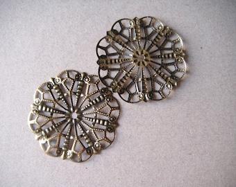 x 5 connectors openwork flower engraved bronze 41 x 41 cm