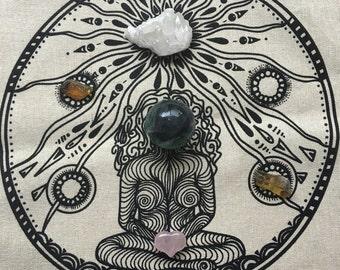 Crystal Grid - Mother Earth Goddess - Linen