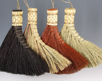 Turkey Wing Broom in your choice of Natural, Black, Rust or Mixed Broomcorn - Traditional Shaker Style Hand Broom - Brush