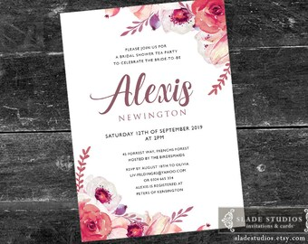 Bridal shower tea party printable invitations. Pink, Burgandy Red, Mulberry watercolour floral.