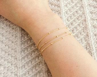 Dainty Gold Bracelet / Gold Satellite Bracelet / Gold Satellite Chain Bracelet / Beaded Bracelet / Bridesmaid Bracelet / Thin Gold Bracelet