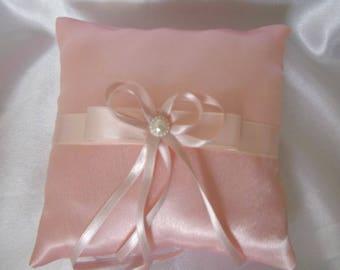 wedding ring pillow cushion peach satin