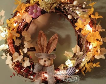 Spring Easter grapevine wreath