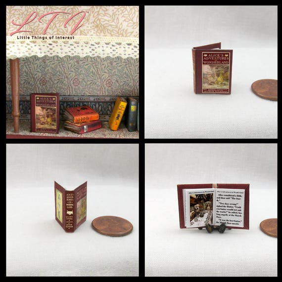 ALICE'S ADVENTURES In WONDERLAND Dollhouse Miniature Book 1:12  Book Lewis Carroll Readable Illustrated Book