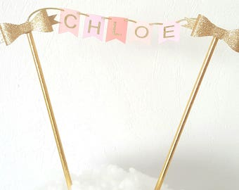 Mini cake Garland - custom name-straws and bow flags gold roses-cake toppers
