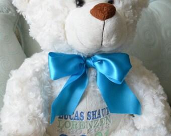 Plush Embroidered Birth stats bear