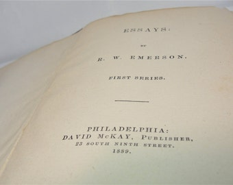 Essays by R.W. Emerson First Series 1889