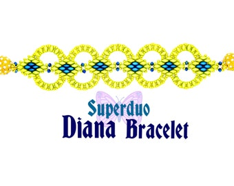 Tutorial Superduo Diana Bracelet Instant Pattern Download Suitable for all levels. Original design by Butterfly Bead Kits