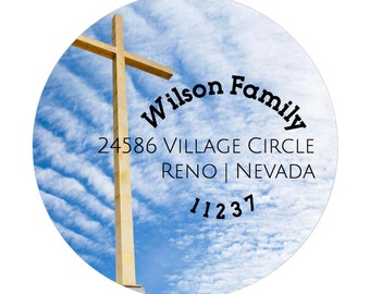 Cross Return Address Labels - Religious Labels - Jesus Labels - Easter Address Labels - Round Labels - Custom - DIY Printable Labels - PDF