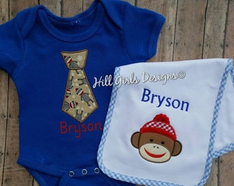 Baby boy appliquéd tie with sock monkey onesie and burp cloth set with embroidered name