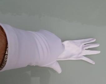 Vintage White gloves Nylon Simplex size 6 1/2 - 7 1/2 Made In England