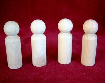 4 of No. 4 Tall Man Peg Doll, Unfinished Hardwood