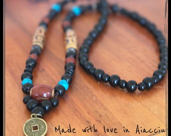 traditional Buddhist mala prayer beads and onyx necklace