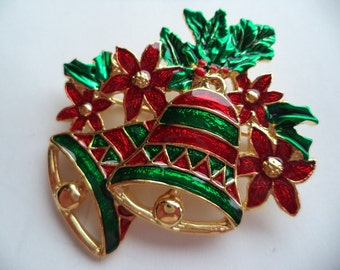 Fabulous Unsigned Vintage Goldtone/Red/Green Bells with Flowers Brooch/Pin