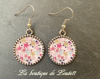 Cabochon image earrings pink stars 1