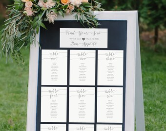 Printable Wedding Seating Chart Kit - Charcoal Gray - Table Cards Set of 1-30 - Wedding Printable -  Instant Download - 5x7 Inches - #GD1008