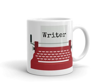 Writer Mug - Red Typewriter Writer Coffee Mug - Writer Gift - Author Gift - NaNoWriMo