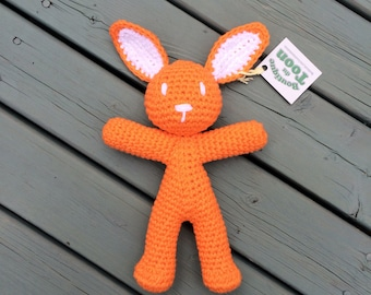 Poly the Orange Bunny - Amigurumi - Hand crocheted with Cotton