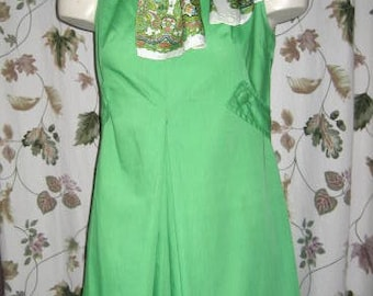 50s 60s Lime Green Dress with Paisley Scarf Vintage