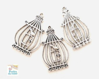 10 pendants, nickel, 20x33mm (bre254) metal bird cage