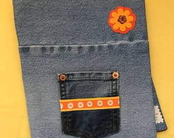 """Removable Reusable Denim Composition Book Cover, 7.5"""" x 9.75"""" // Orange and Yellow Flower, Orange Yellow Band"""