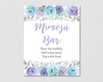 Winter Bridal Shower Mimosa Bar Sign / Winter Snowflake / Winter Floral / Printable INSTANT DOWNLOAD B121