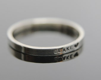 Solid 14k white gold custom hand stamped tiny band ring. Knuckle size available.