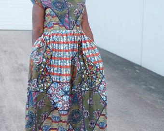 women African ankara maxi Dress dress with vibrant print Ankara print/ African dress Full length Afrcan clothing African fashion