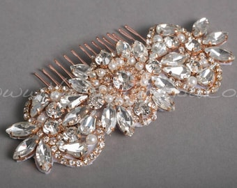 Bridal Hair Comb, Rose Gold Bridal Headpiece, Rhinestone Wedding Hair Accessory, Rose gold, Silver, Gold - Belita