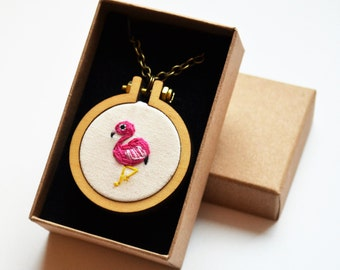 Miniature Embroidery Flamingo Necklace or Brooch Tiny 4cm Hoop Art
