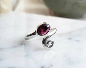 Red Garnet ring - sterling silver Garnet ring - January birthstone ring - adjustable sterling silver ring
