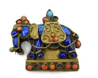 Vintage Tibet Elephant Brooch - Coral, Glass