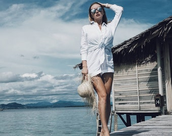 The Lizzie Playsuit, Linen Playsuit  - Collared, Button Down, White Linen Jumpsuit Romper