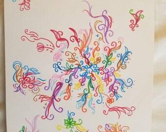 Dessin abstrait coloré de fleurs et plantes