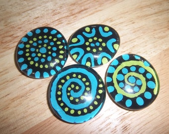Blue, Green & Black Hand Painted Glass Stone Magnet / Teacher Gift  / Decorative Magnets / Fridge Magnets / Office Magnets / Blue Magnets