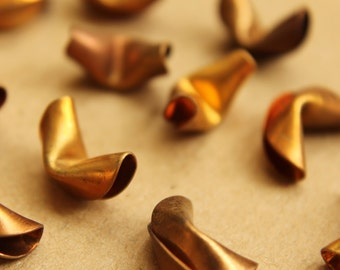 3 pc. Raw Brass Fortune Cookies : 14mm by 8mm by 9mm - made in USA | RB-624