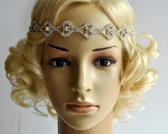 Rhinestone Headband,Bridal Hairpiece Headband,Crystal Headband, Wedding Halo Bridal tie on ribbon Headband Headpiece, 1920s Flapper headband