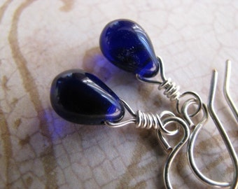 Cobalt Blue Teardrop and Silver Earrings