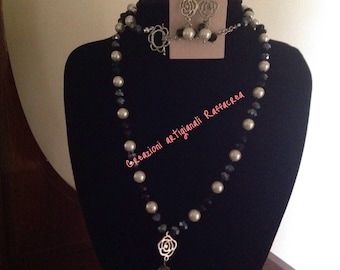 Black, dark grey crystals and pearl jewelry sets