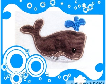 Whale Machine Embroidery Design - Applique Style  4x4inch/100x100mm Hoop Size