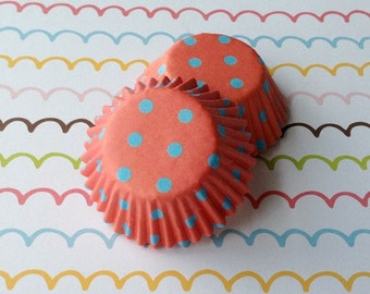 SALE - Mini Peach/Blue Pollka Dots Cupcake Liners